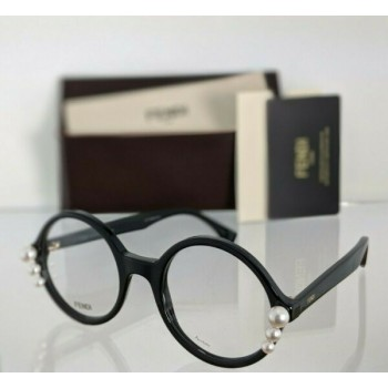 Brand New Authentic Fendi FF 0298 Eyeglasses 807 Black Ribbons and Pearls Frame