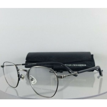 Brand New Authentic Barton Perreira Eyeglasses Ginsberg PEW Silver Antique Frame
