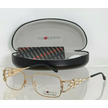 Brand New Authentic Rosso Fiamma Eyeglasses 22KT TIMOR C2 Gold Plated 52mm Frame
