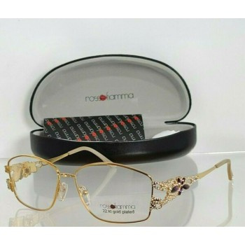 Brand New Authentic Rosso Fiamma Eyeglasses MANILA 22 KT Gold Plated 54mm