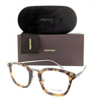 Tom Ford FT 5496 056 Matte Tortoise & Silver Eyeglasses