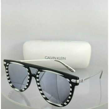 Calvin Klein CK 18703S 005 Black White and Silver Sunglasses